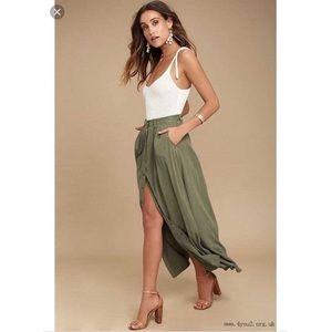 NWT PISTOLA Revolve Maxi Skirt Boho Army Green XS